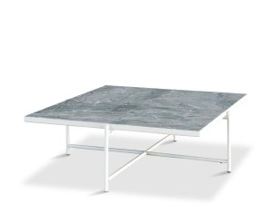 Carrare marble coffee table 90 cm. White frame.