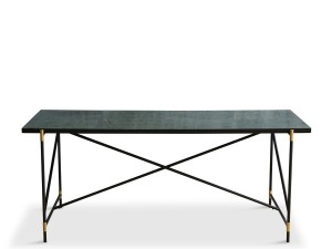 Carrare marble dining table 185 cm.  Black frame with brass.