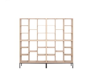Modular Shelving System in oak. One single module and base