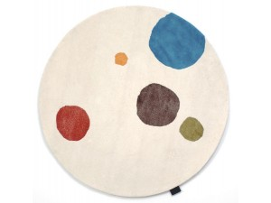 Custom hand tufted  Mr Dottie round rug.