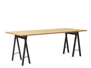 Linear Table with Austere Trestle black. 3 sizes